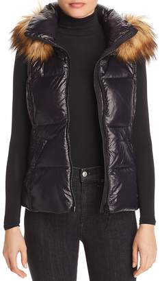 Aqua Faux Fur-Trim Puffer Vest - 100% Exclusive