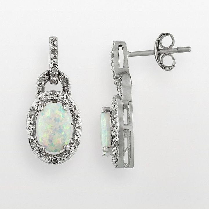 Sterling silver 1/10-ct. t.w. diamond & lab-created opal drop earrings