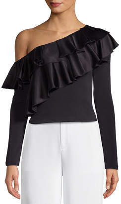 Alice + Olivia Izzy One Shoulder Ruffled Cropped Top