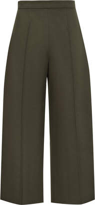 Reiss Nara - Cropped Wide Leg Trousers in Military Green