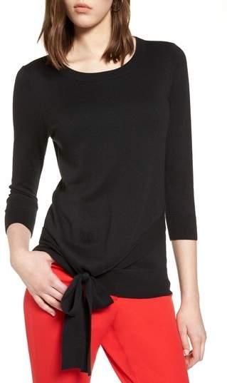 Pima Cotton Blend Tie Sweater