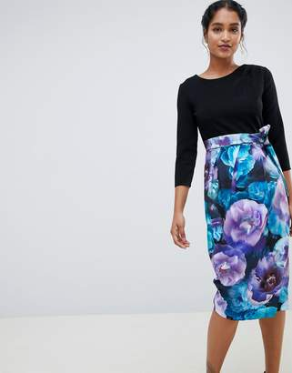 Closet London 3/4 sleeve tulip dress with printed skirt