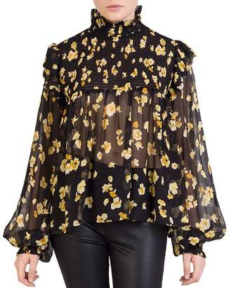 The Kooples Silk Smocked Floral-Print Top