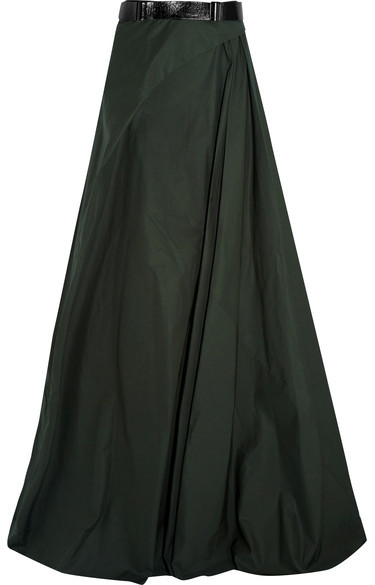 Bottega Veneta Bottega Veneta - Belted Cotton-poplin Maxi Skirt - Forest green