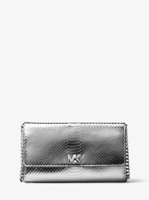 MICHAEL Michael Kors Mott Metallic Snake-Embossed-Leather Clutch