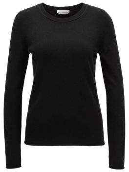 BOSS Hugo Cashmere sweater rolled edges L Black