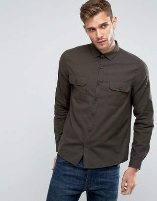 Asos Double Pocket Overshirt In Khaki