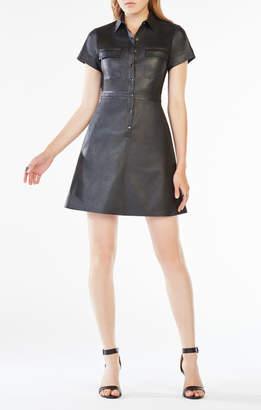 BCBGMAXAZRIA Stephana Faux-Leather Shirt Dress