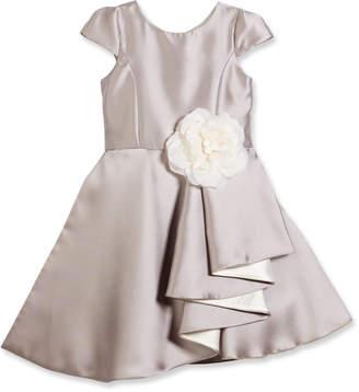 Neiman Marcus Zoe Cap-Sleeve Draped Satin A-Line Dress, Silver, 7-14