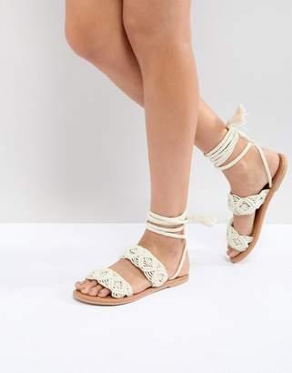 Asos DESIGN FLYTE Tie Leg Sandals