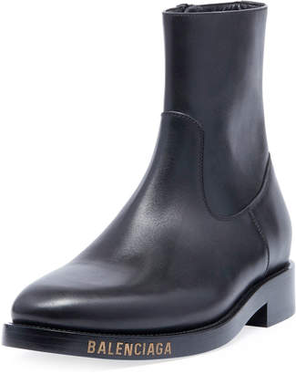 Balenciaga Men's Leather Chelsea Boots with Stamped Logo