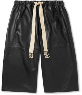 Loewe Leather Drawstring Shorts - Black