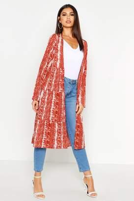 boohoo Snake Print Tiered Kimono