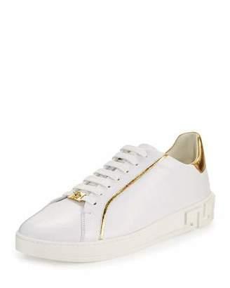 Versace Men's Golden-Trim Leather Low-Top Sneakers, White