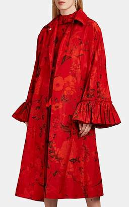 Valentino Women's Floral Faille Long Coat - Red