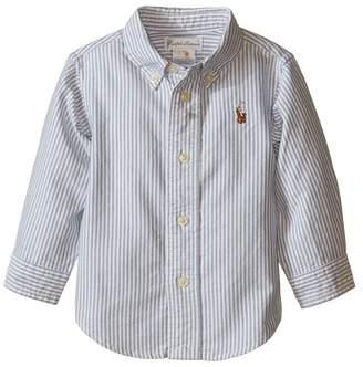 Ralph Lauren YD Oxford Stripe Shirt Boy's Short Sleeve Knit