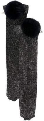 Edie Parker Fur Pom-Pom Socks