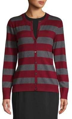 Jones New York Striped Button Front Cardigan