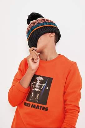 Next Boys Orange Flossing Skeleton Crew Top (3-16yrs) - Orange