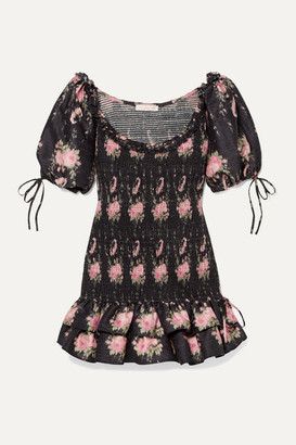 LoveShackFancy Violet Smocked Ruffled Floral-print Silk-voile Mini Dress - Black