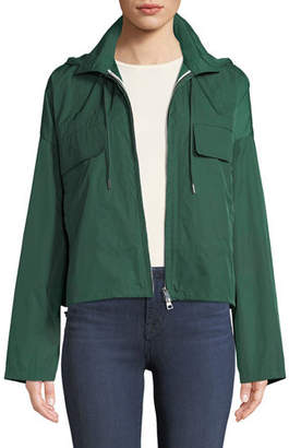 Theory Zip-Front Cropped Active Twill Anorak Jacket