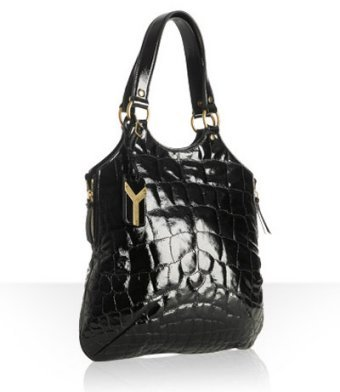 Yves Saint Laurent black quilted patent 'Tribute' small tote