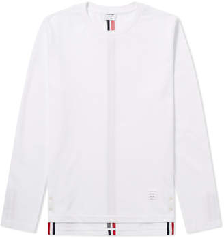 Thom Browne Long Sleeve Back Stripe Pique Tee