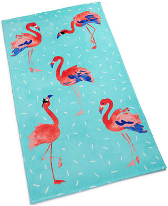 Martha Stewart Collection Flamingo Sprinkle Cotton Graphic-Print Beach Towel