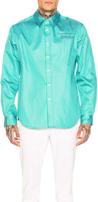 Martine Rose Classic Bonded Shirt in Green & Blue Stripe | FWRD