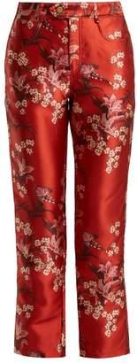 Johanna Ortiz Corajuda Renaissance Floral Print Satin Trousers - Womens - Red Multi