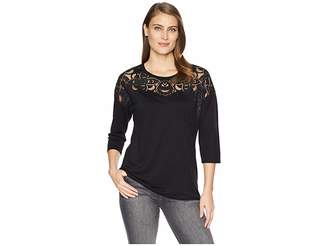 Tribal 3/4 Sleeve Top with Fancy Burnout