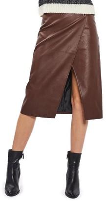 Women's Topshop Faux Leather Wrap Midi Skirt $85 thestylecure.com
