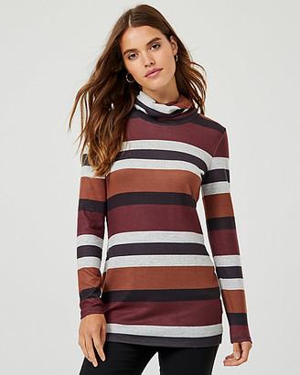 Le Château Stripe Rib Knit Cowl Neck Tunic Sweater