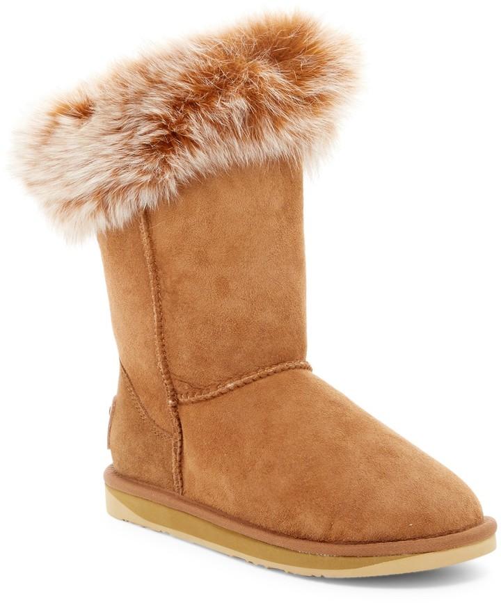 Australia Luxe CollectiveAustralia Luxe Collective Foxy Short Hidden Wedge Genuine Fox Fur and Shearling Boot