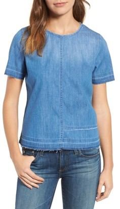 Women's Ag Tawny Raw Edge Tee $158 thestylecure.com