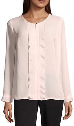 Liz Claiborne Long Sleeve Pleated Woven Blouse - Tall