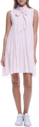 ENGLISH FACTORY Bow-Neck Sleeveless Shirred Dress