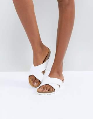 Office Hoxton2 White Cross Front Slider Sandals
