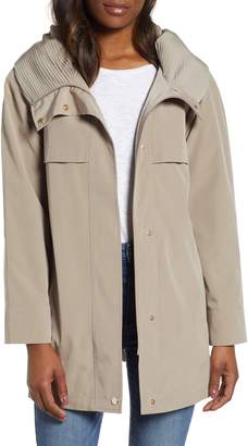 Gallery Pleated Collar A-Line Water Repellent Raincoat