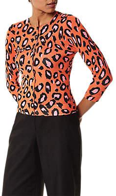 Karen Millen Leopard Print Cardigan, Orange/Multi