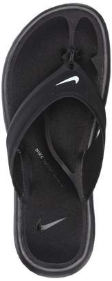 Nike Women's Ultra Comfort Thong Athletic Sandal, White Black, 7 B US