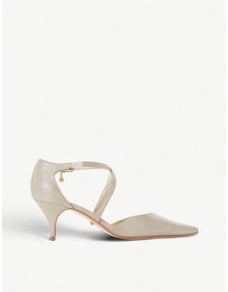 Dune Courtnee cross-strap leather kitten heel courts