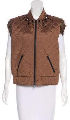 Brunello Cucinelli Feather-Trimmed Quilted Vest