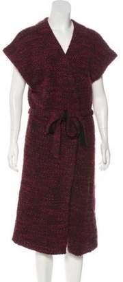 Alice + Olivia Wool-Blend Belted Cardigan purple Wool-Blend Belted Cardigan