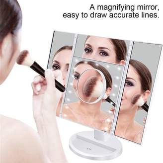 Qiilu Foldable Makeup Vanity Mirror LED Ligted Tabletop Trifold Mirror with Touch Panel Cosmetic Mirror Touch Screen USB Charging Magnifying Makeup Mirror White