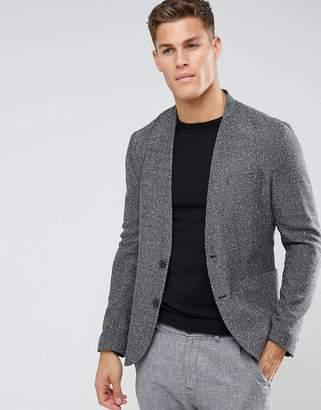 Asos DESIGN Skinny Blazer In Texture Charcoal