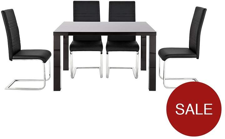 Atlantic 120 Cm Gloss Dining Table + 4 Jet Chairs