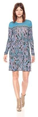 BCBGMAXAZRIA Azria Women's Jeanna Knit Paisley Printed Crew Neck Dress