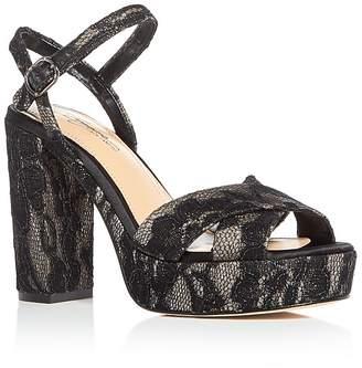 Imagine VINCE CAMUTO Women's Valora Satin & Lace Block Heel Platform Sandals