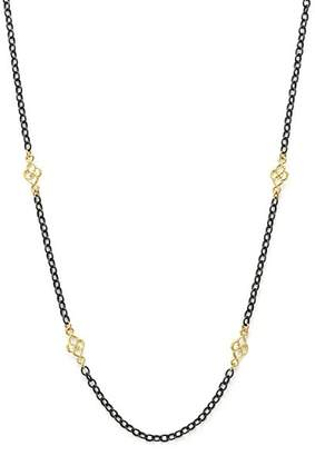 Armenta 18K Yellow Gold and Blackened Sterling Silver Old World Cable Chain Necklace, 18""